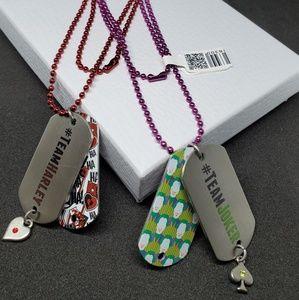 Joker & Harley Quinn Dogtag Necklace Set